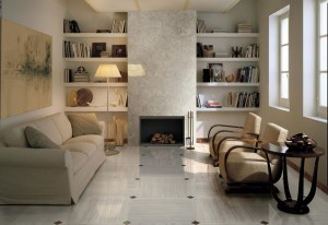 Sophisticated-livining-room-brown-white-floor-tile